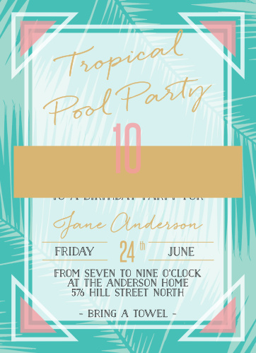 Tropical pool party invitations with retro palm fronds and a beachy vibe are the perfect way for you to invite your guests to your big event.