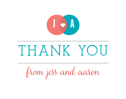 The Modern Venn Thank You Cards are a modern and cute way to tell your friends and family how much you appreciate them.