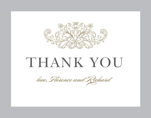 Finish your wedding stationery with the Vintage Damask Thank You Cards from the Crafty Pie Collection at Basic Invite.