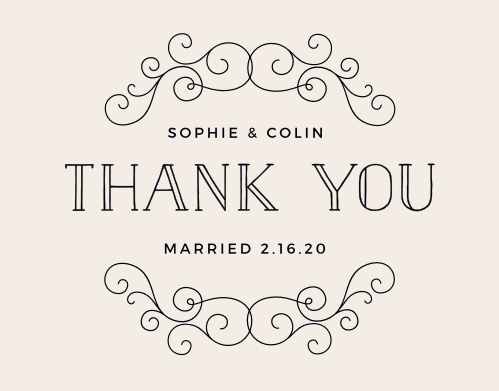 Leave a lasting good impression of your wedding with the Classic Penmanship Thank You Cards.