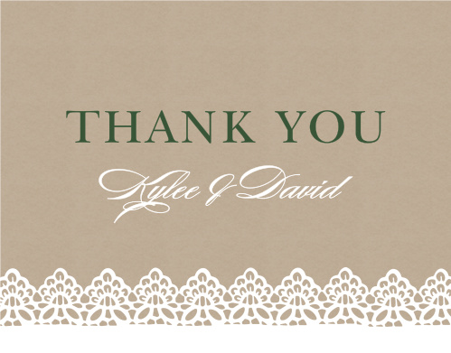 The Rustic Lace Thank You Cards express your gratitude with country charm.