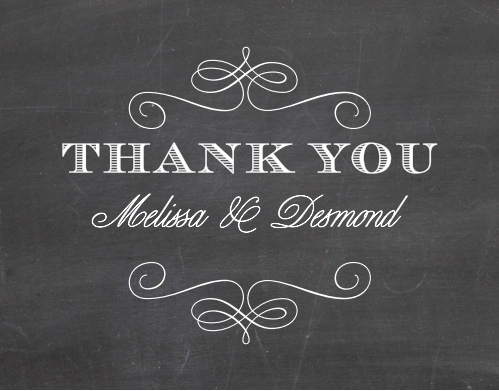 The Fancy Chalkboard Thank You Card is the perfect compliment to its stationery suite.