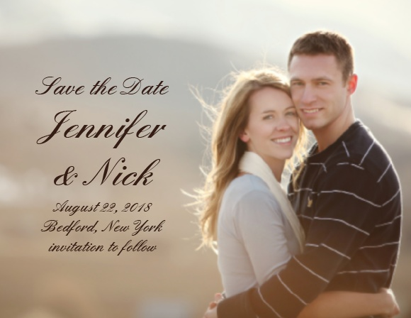 The Simple Luxury photo save the date card is a simple photo design that lets you use your favorite photo to create your save the date.