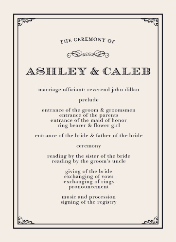 The Grand Victorian Wedding Programs from the Crafty Pie Collection at Basic Invite are a smart addition to your wedding stationery.