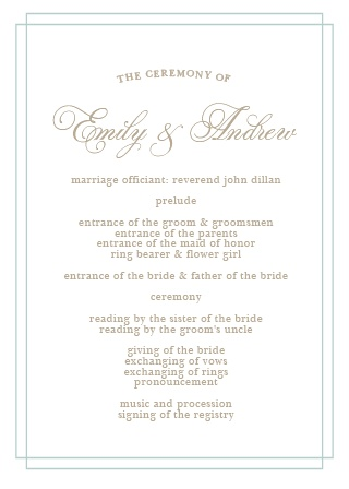 Use the Emily Swash Wedding Programs to effortlessly and efficiently organize your wedding ceremony.