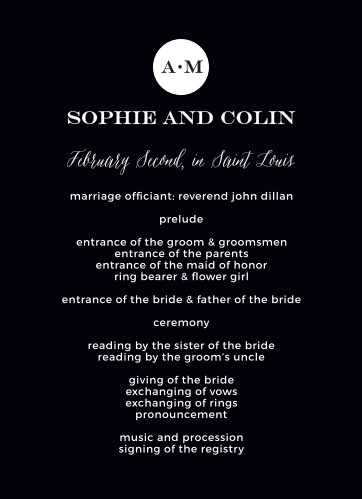 Use the Modern Elegant Wedding Programs to keep your contemporary ceremony running smoothly.