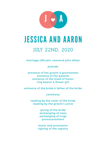 Use the bright, contemporary design of the Modern Venn Wedding Programs to keep your ceremony on track.