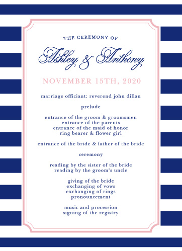 Organize your ceremony with the Preppy Stripe Wedding Programs from the Crafty Pie Collection at Basic Invite.