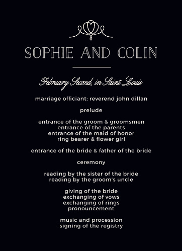 The Classic Penmanship Wedding Programs will coordinate perfectly with your whimsical wedding theme.