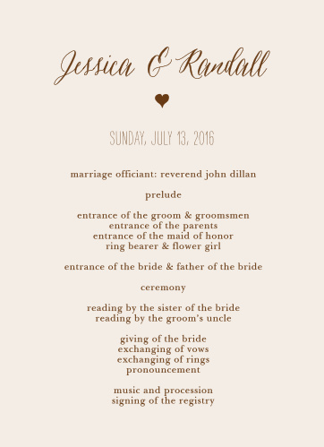 Customize the Drawn Together Wedding Programs to match your wedding stationery.