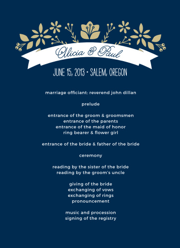 A ribbon with a crown of folk art flowers adorns the top of the Folksy Floral Wedding Programs.
