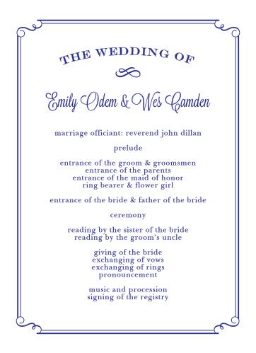 Organize your ceremony with the elegance of the Handwritten Deco Wedding Programs.