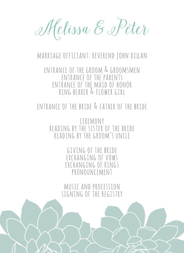 The Sweet Succulents Wedding Programs are an easy way to keep your ceremony on track.