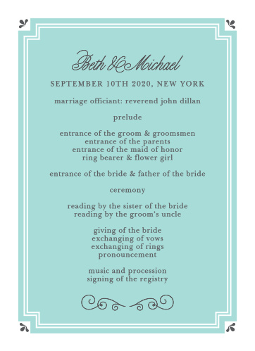Keep your grand event running smoothly with the Parisian Script Wedding Programs from the Crafty Pie Collection at Basic Invite.