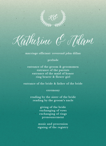 The Rustic Ombre Wedding Programs' two-sided design easily organizes your ceremony schedule.