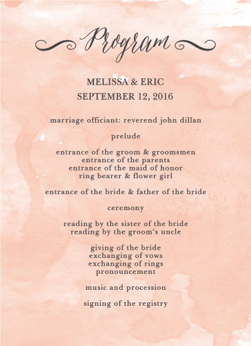 Staying organized and on schedule is difficult enough, especially throughout planning your wedding. With the Watercolor Script Wedding Programs, you can do all of that.