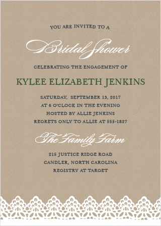 The Rustic Lace Bridal Shower Invitations are full of country charm.