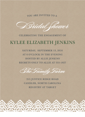 rustic lace bridal shower invitations - Wedding Shower Invites