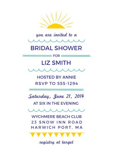 Beach bridal shower invitations match your color style free modern beach bridal shower invitations filmwisefo
