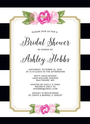 Invite friends and family to celebrate the Bride-to-be with the Floral Stripe Bridal Shower Invitations from the Crafty Pie Collection at Basic Invite.