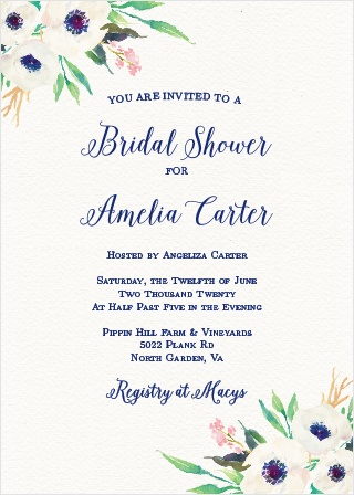 Lush florals adorn the corners of the Watercolor Anemone Bridal Shower Invitations.