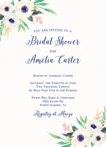 Bridal shower invitations wedding shower invitations basicinvite watercolor anemone bridal shower invitations filmwisefo