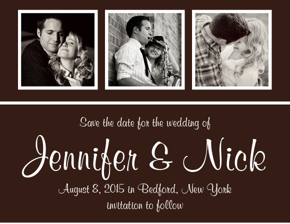 The Photo Strip save the date cards are a fun animal print background that stands out from the rest.
