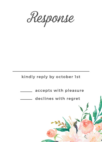 Simplify wedding planning with the Blossoming Love Response Cards from the Crafty Pie Collection at Basic Invite.