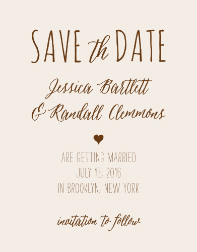 Announce your wedding with the handcrafted look of the Drawn Together Save-the-Date Cards from the Crafty Pie Collection at Basic Invite.