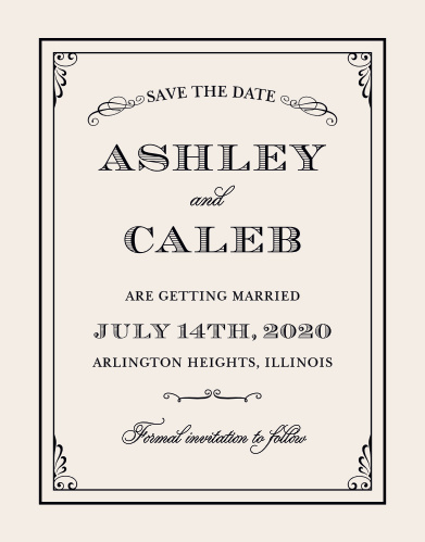 The Grand Victorian Save-the-Date Cards from the Crafty Pie Collection at Basic Invite announce your wedding with the romance of bygone eras.
