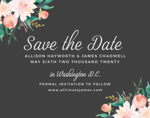 Watercolor flowers frame your announcement on the Blossoming Love Save-the-Date Cards.