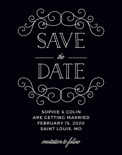Handwritten fonts and beautiful swirl accents make the Classic Penmanship Save-the-Date Cards a memorable way to announce your upcoming wedding.