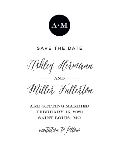 Announce your contemporary event with the Modern Elegant Save-the-Date Cards from the Crafty Pie Collection at Basic Invite.