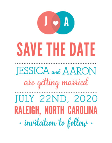 Customize the playful design of the Modern Venn Save-the-Date Cards.
