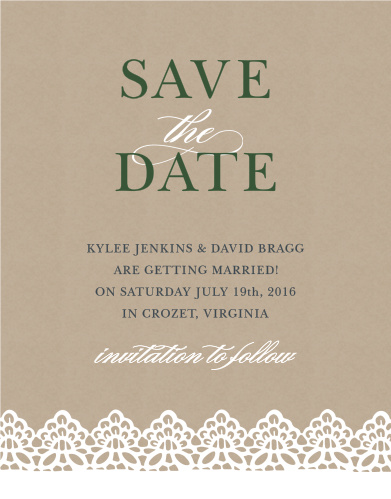 Beautiful lace details garnish the bottom of the Rustic Lace Save-the-Date Cards.