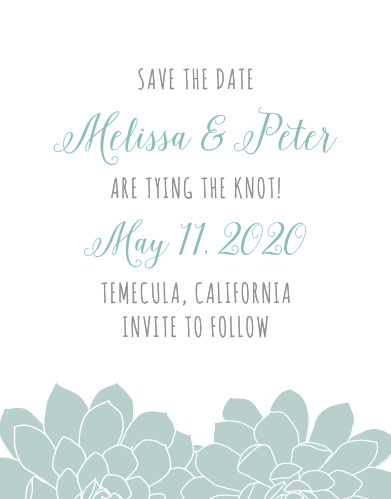 Announce your wedding with the Sweet Succulents Save-the-Date Cards from the Crafty Pie Collection at Basic Invite.