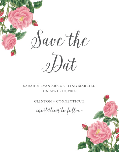 Completely customize the text of the Budding Blooms Save-the-Date Cards.