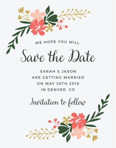 Vibrant florals decorate the Garden Party Save-the-Date Cards.