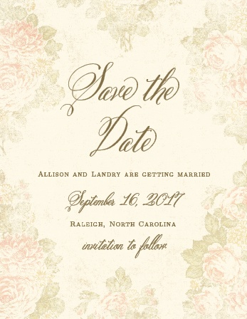 Announce to friends and family you're getting married with the timeless elegance of the Romantic Vintage Save-the-Date Magnets.