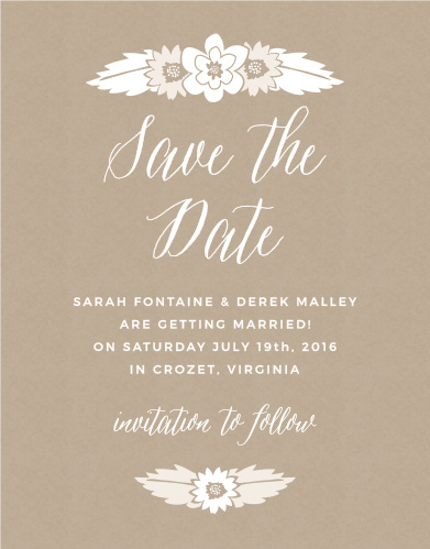 Charming flowers sit atop a kraft pattern background on the Rustic Floral Save-the-Date Magnets.