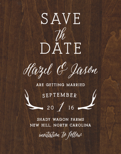 Make your wedding announcement with the country charm of the Rustic Wood Save-the-Date Magnets.