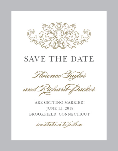 Formally announce your wedding with the Vintage Damask Save-the-Date Magnets.