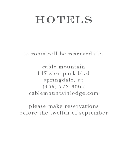 Detail travel information with the Elegant Script Accommodation Cards from the Crafty Pie Collection at Basic Invite.