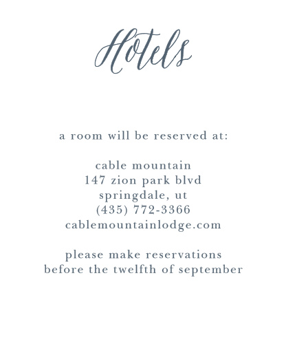 Let out-of-town guests know where you have reserved rooms for them with the Rustic Ombre Accommodation Cards.