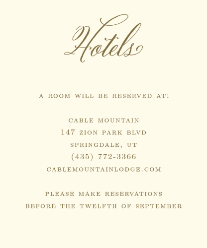 The Romantic Vintage Accommodation Cards are easy to customize with your information and wedding colors. Design your cards with real-time previews online.