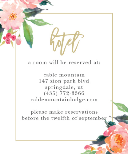 Gorgeous watercolor florals and a thin border frame your customized text on the Standing Ovation Accommodation Cards.