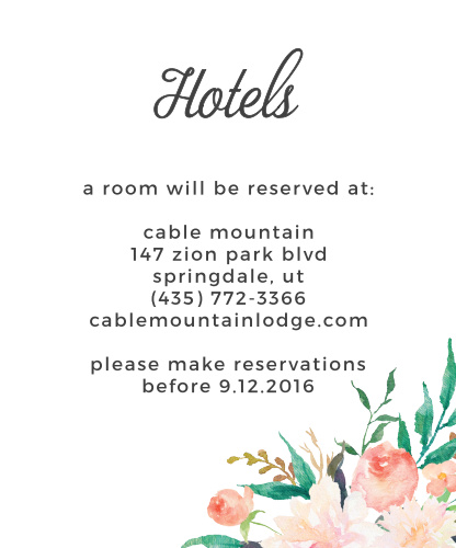 Help guests make their travel reservations with the Blossoming Love Accommodation Cards.