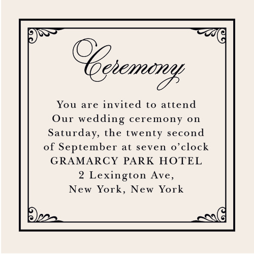 Include ceremony-specific details on the Grand Victorian Ceremony Cards from the Crafty Pie Collection at Basic Invite.