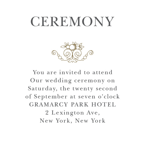 Include your ceremony information with the Vintage Damask Ceremony Cards.