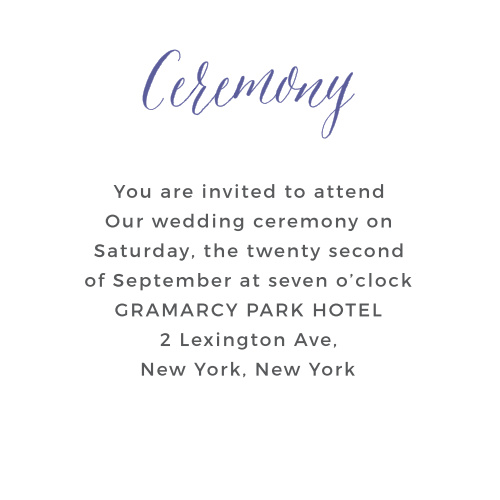 Make sure special guests receive the Rustic Script Ceremony Cards from the Crafty Pie Collection at Basic Invite.